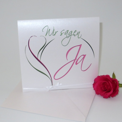 """Hochzeitseinladung mit extravagantem Design """"Blüte"""" in pink & grün"""