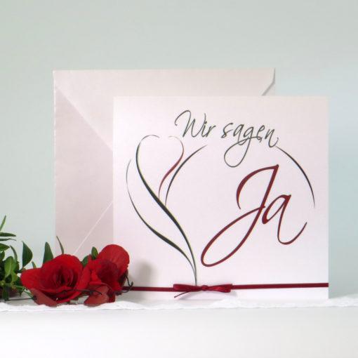 """Hochzeitseinladung """"Blüte"""" rot & grün"""