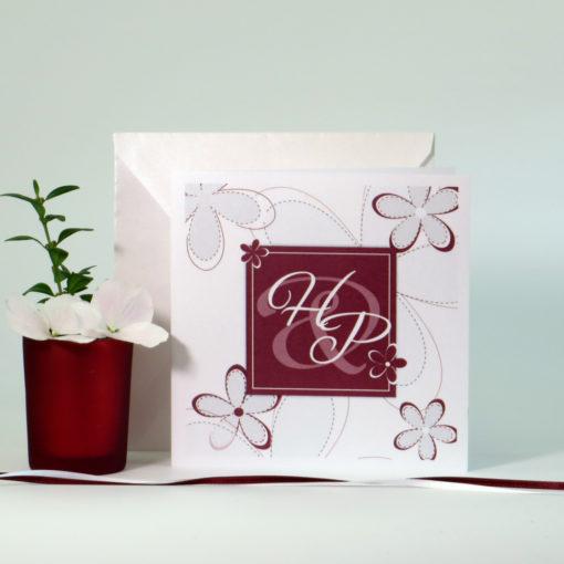 """Hochzeitseinladung """"Blumen"""" bordeaux"""