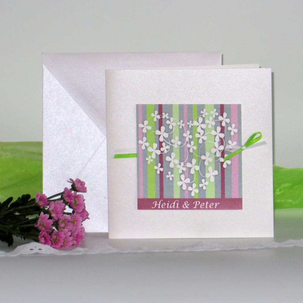 """Hochzeitseinladung """"Blumenherz"""" grün&rosa&aubergine"""