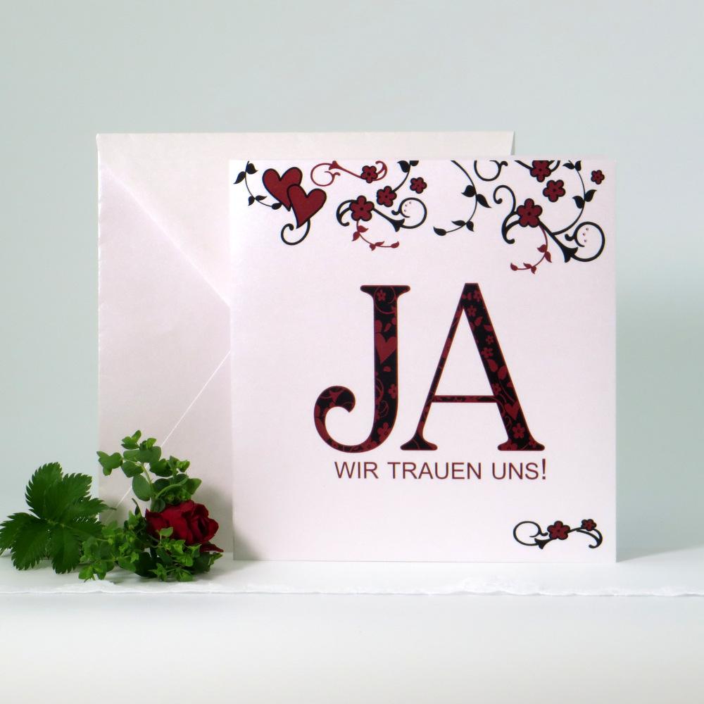 """Hochzeitseinladung """"Blumenornament"""" rot"""