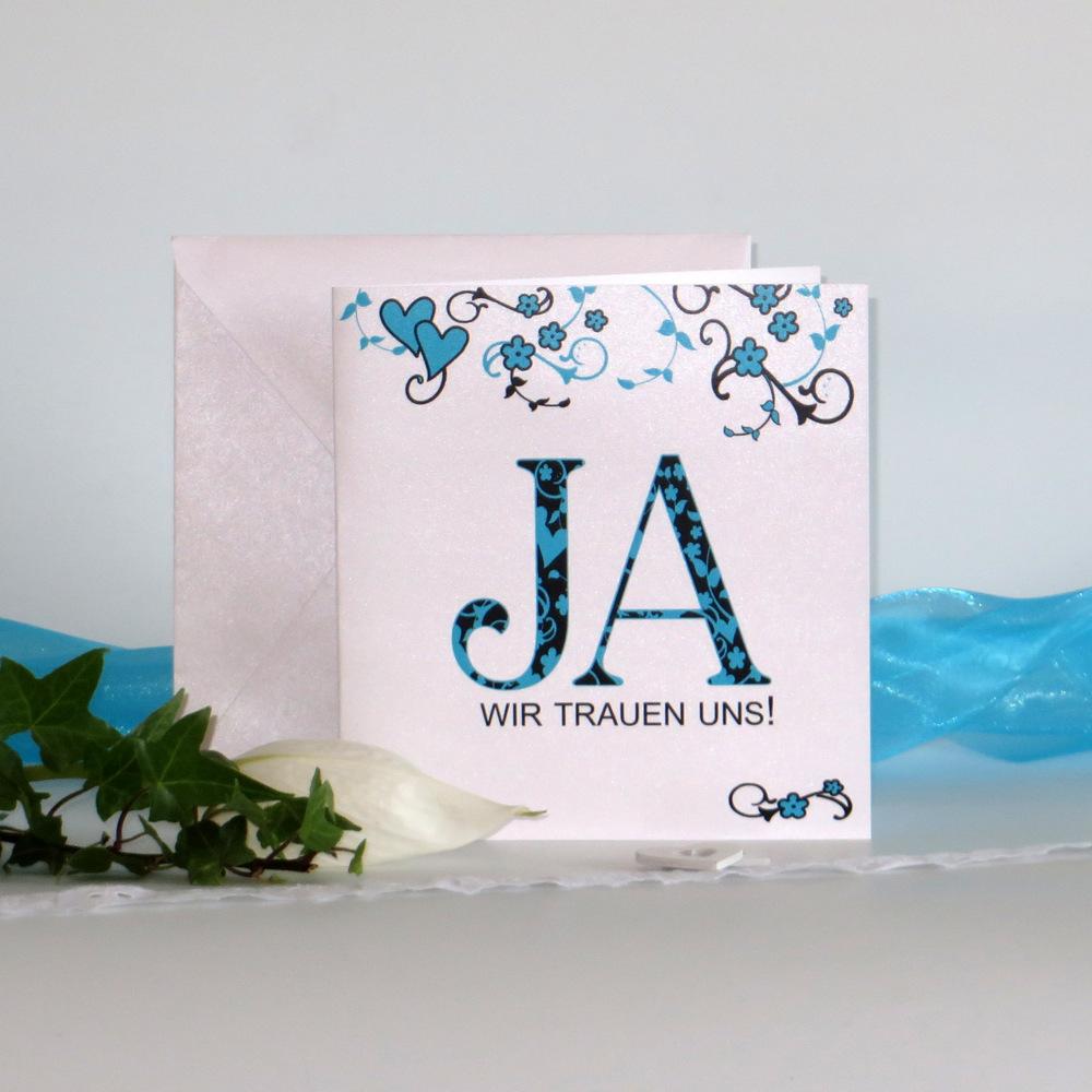 """Hochzeitseinladung """"Blumenornament"""" türkis"""