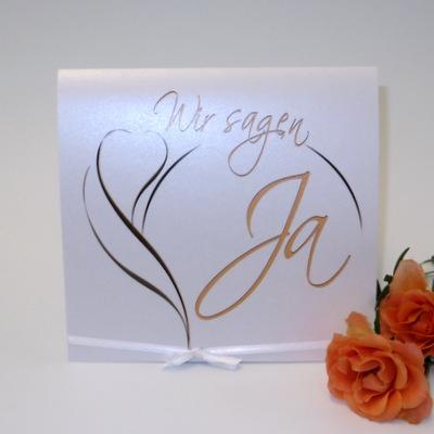 """Hochzeitseinladung """"Blüte"""" apricot"""
