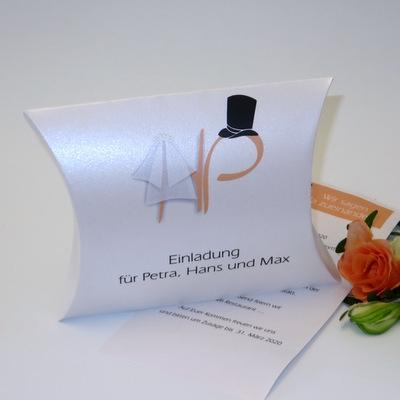 """Hochzeitseinladungsbox """"Brautpaar"""" apricot"""