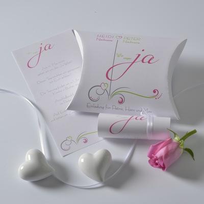 """Hochzeitseinladungsbox """"Design in pink & grün"""""""