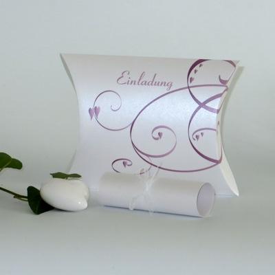 """Hochzeitseinladungsbox """"Farbflirt rose & weiß"""""""