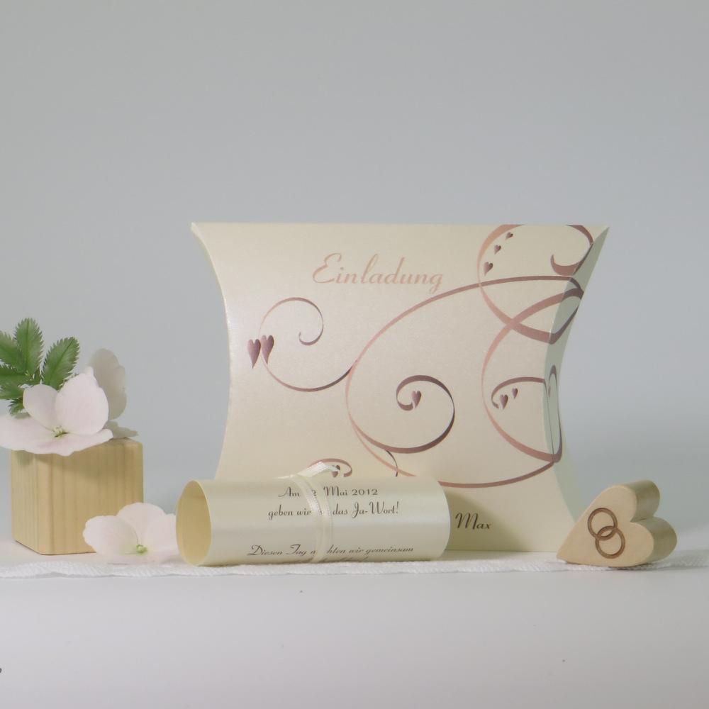 """Hochzeitseinladungsbox """"Farbflirt rose & braun"""""""