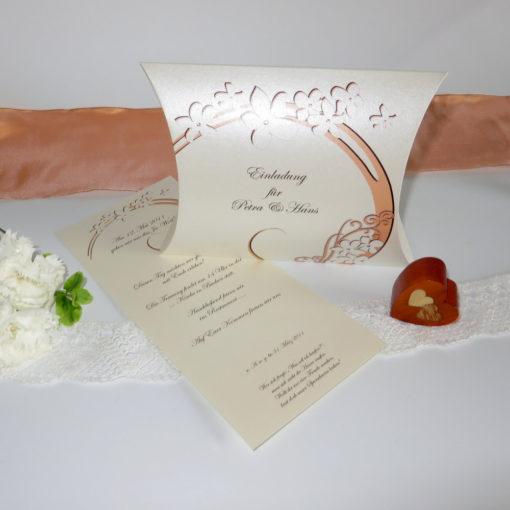 "Einladungsbox ""Flair"" apricot-braun"
