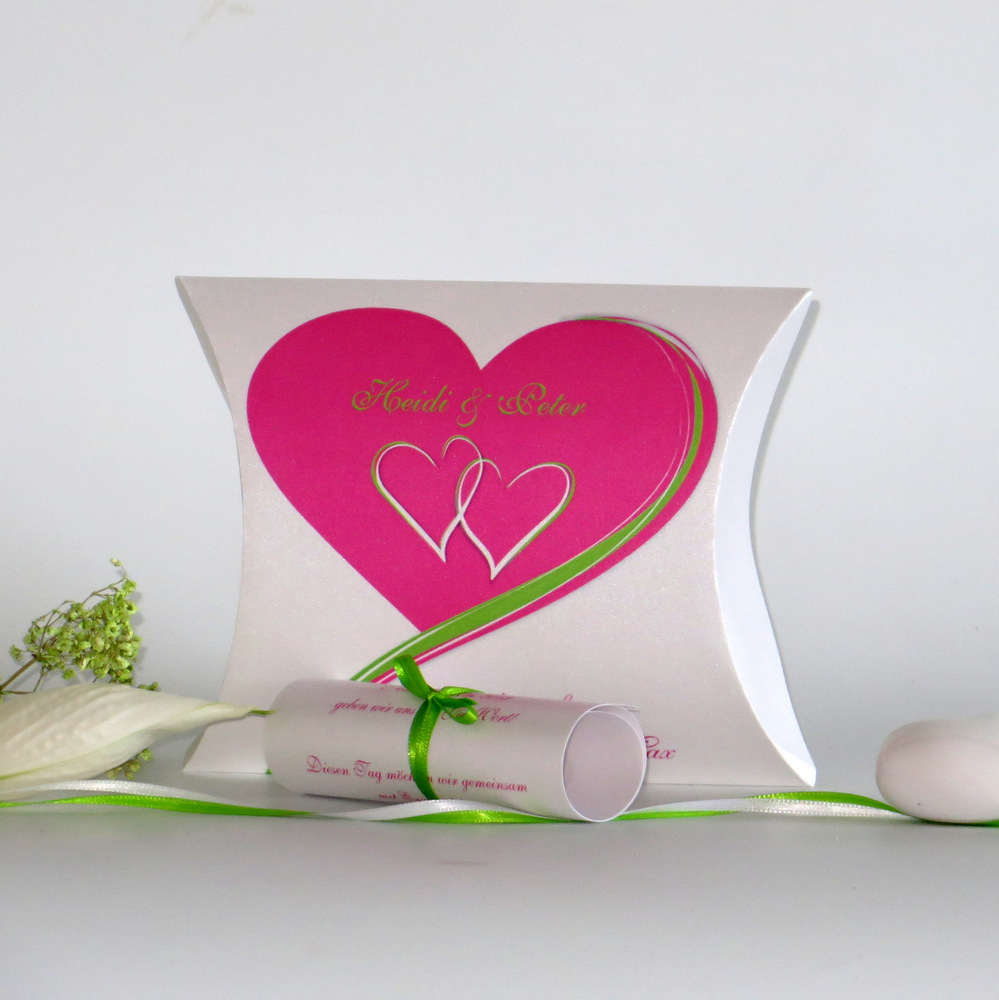 """Hochzeitseinladungsbox """"Herzpaar"""" pink&grün"""