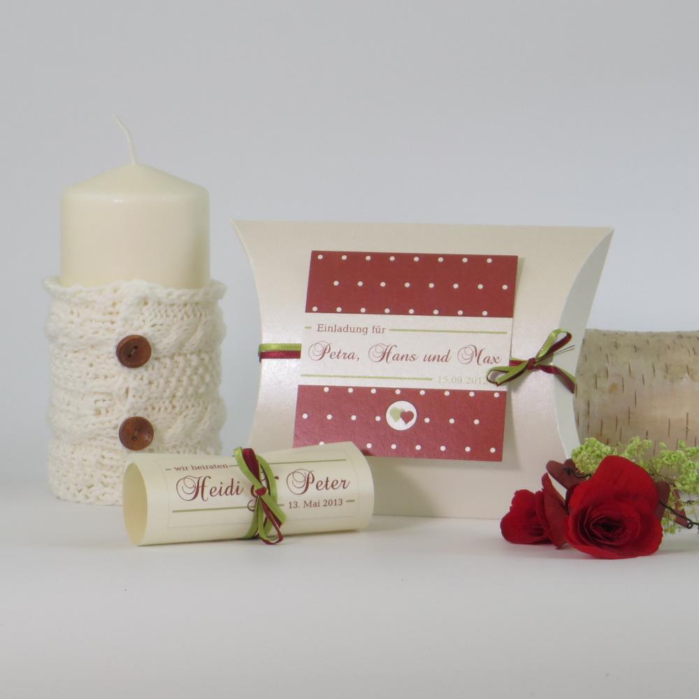 """Hochzeitseinladungsbox """"Punkte"""" rot"""