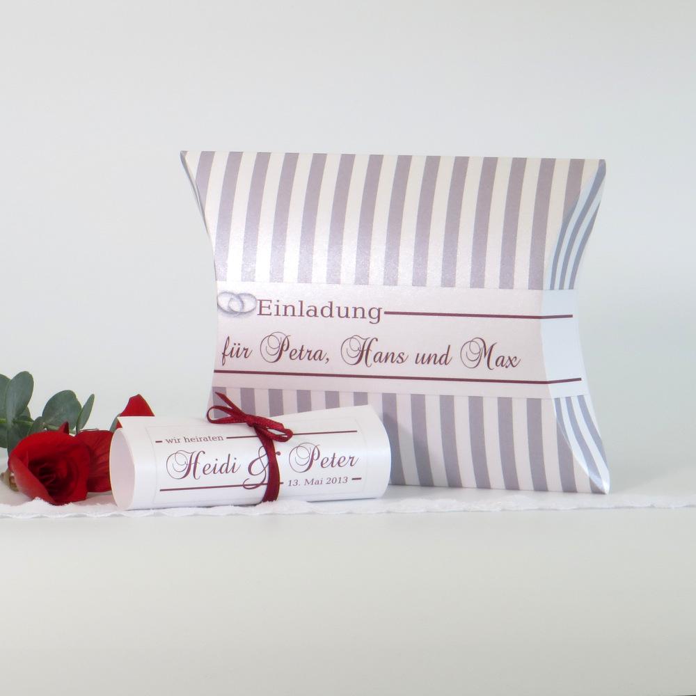"Hochzeitseinladungsbox ""Ringe"" bordeaux & grau"