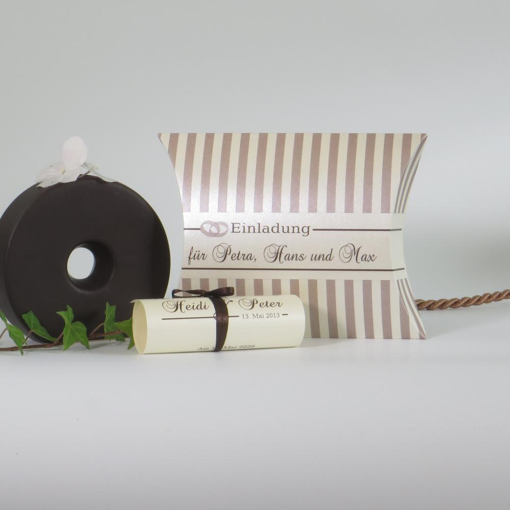"""Hochzeitseinladungsbox """"Ringe"""" creme & braun"""