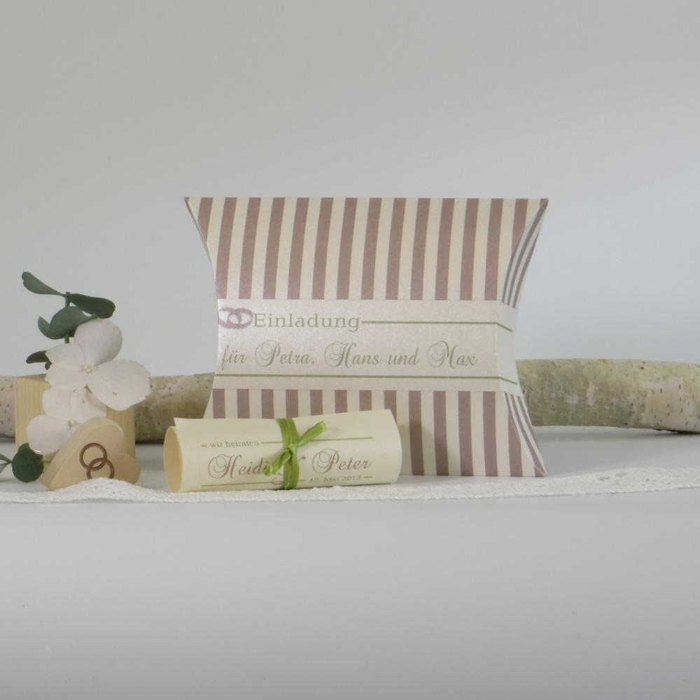 """Hochzeitseinladungsbox """"Ringe"""" creme,braun,grün"""