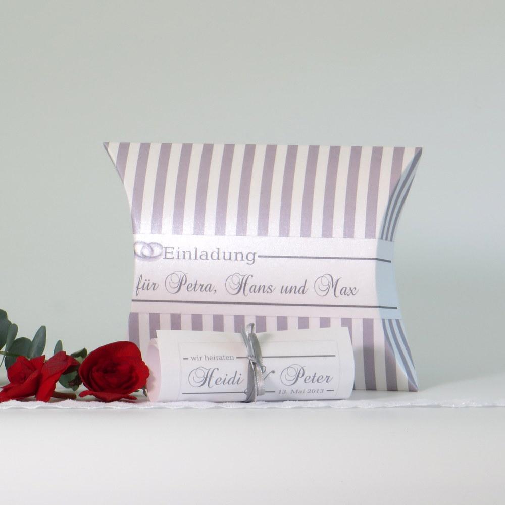 """Hochzeitseinladungsbox """"Ringe"""" grau"""