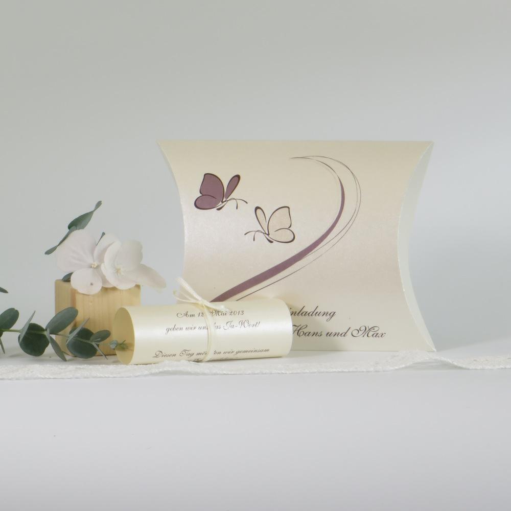 """Hochzeitseinladungsbox """"Schmetterlinge"""" creme & braun"""
