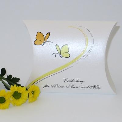 """Hochzeitseinladungsbox """"Schmetterlinge"""" gelb"""