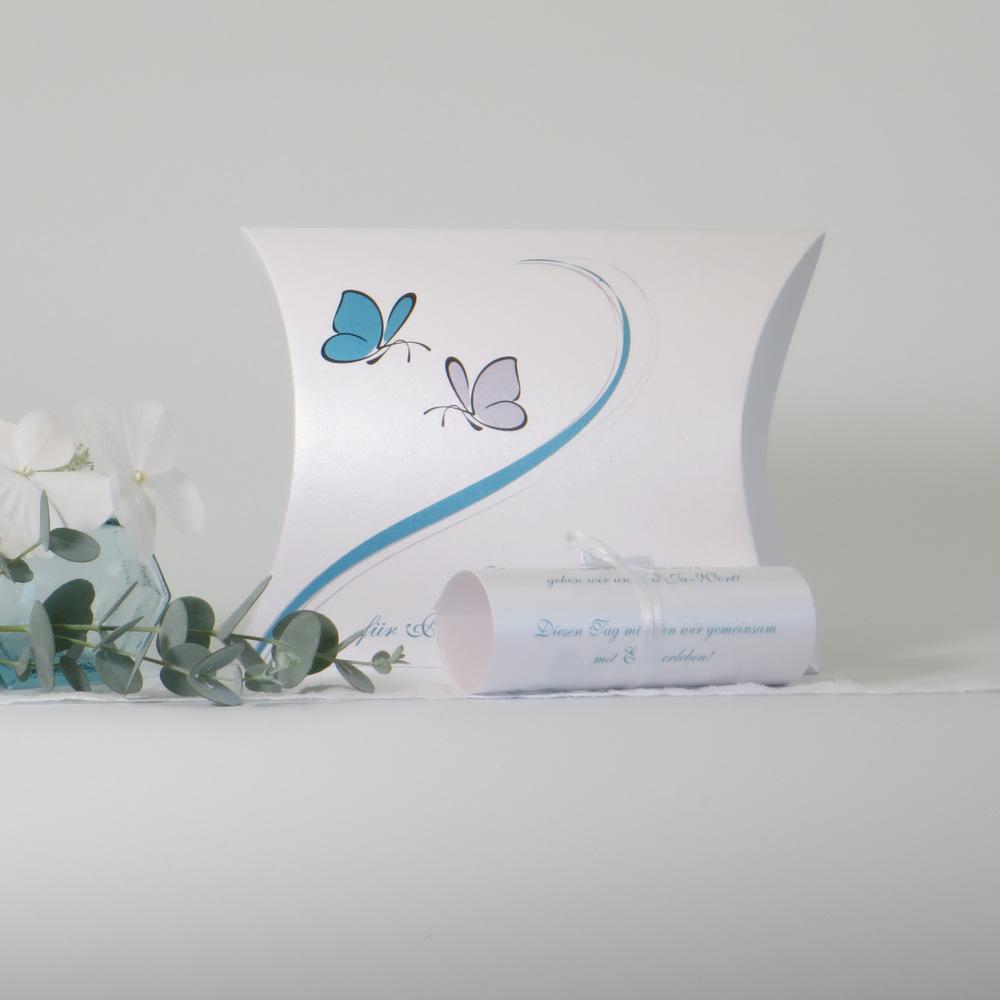 """Hochzeitseinladungsbox """"Schmetterlinge"""" türkis"""