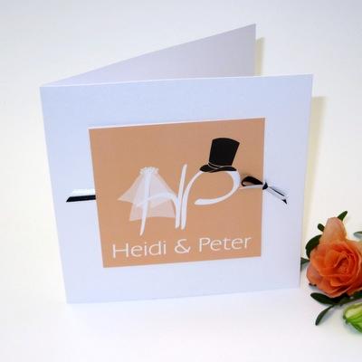"""Hochzeitseinladung """"Brautpaar"""" apricot-67213"""