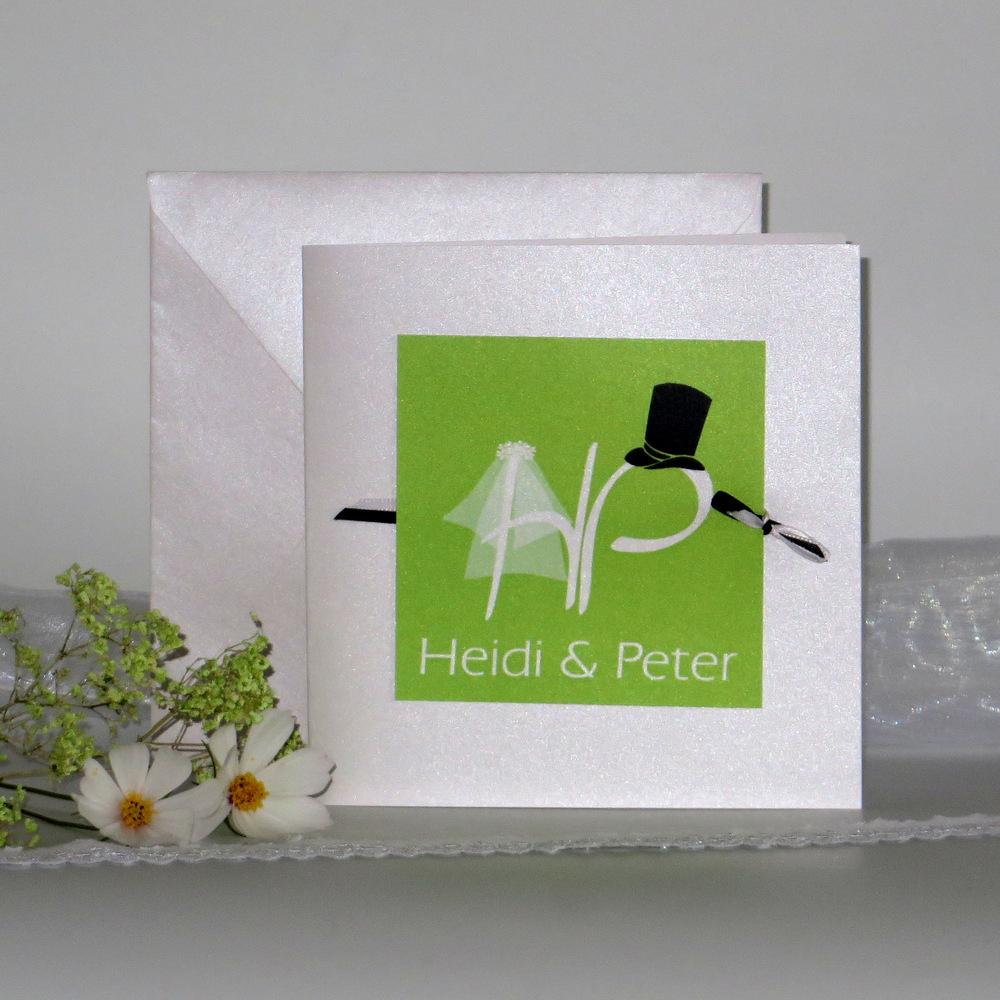 """Hochzeitseinladung """"Brautpaar"""" grün"""