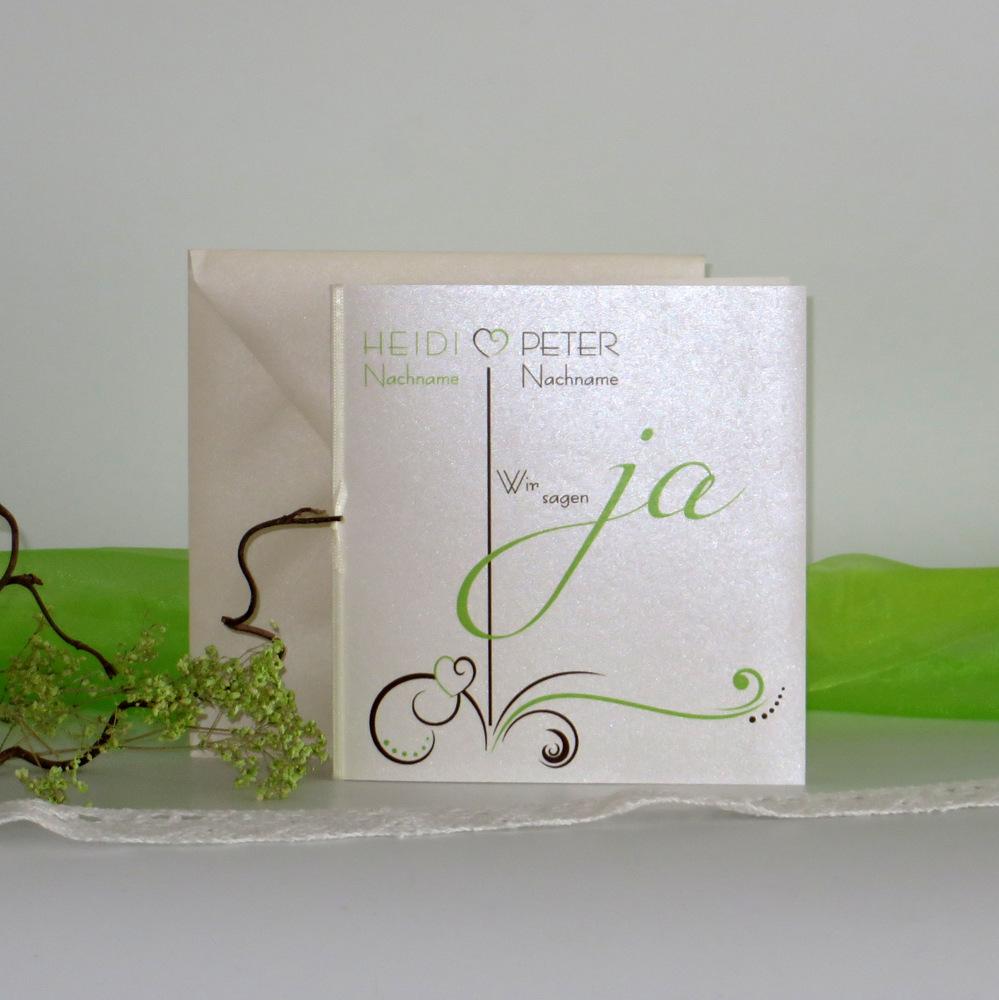 """Hochzeitseinladung """"Design in grün & braun"""""""