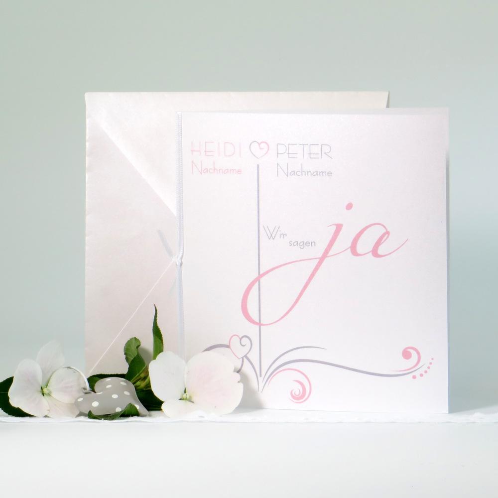 """Hochzeitseinladung """"Design in rosa"""""""