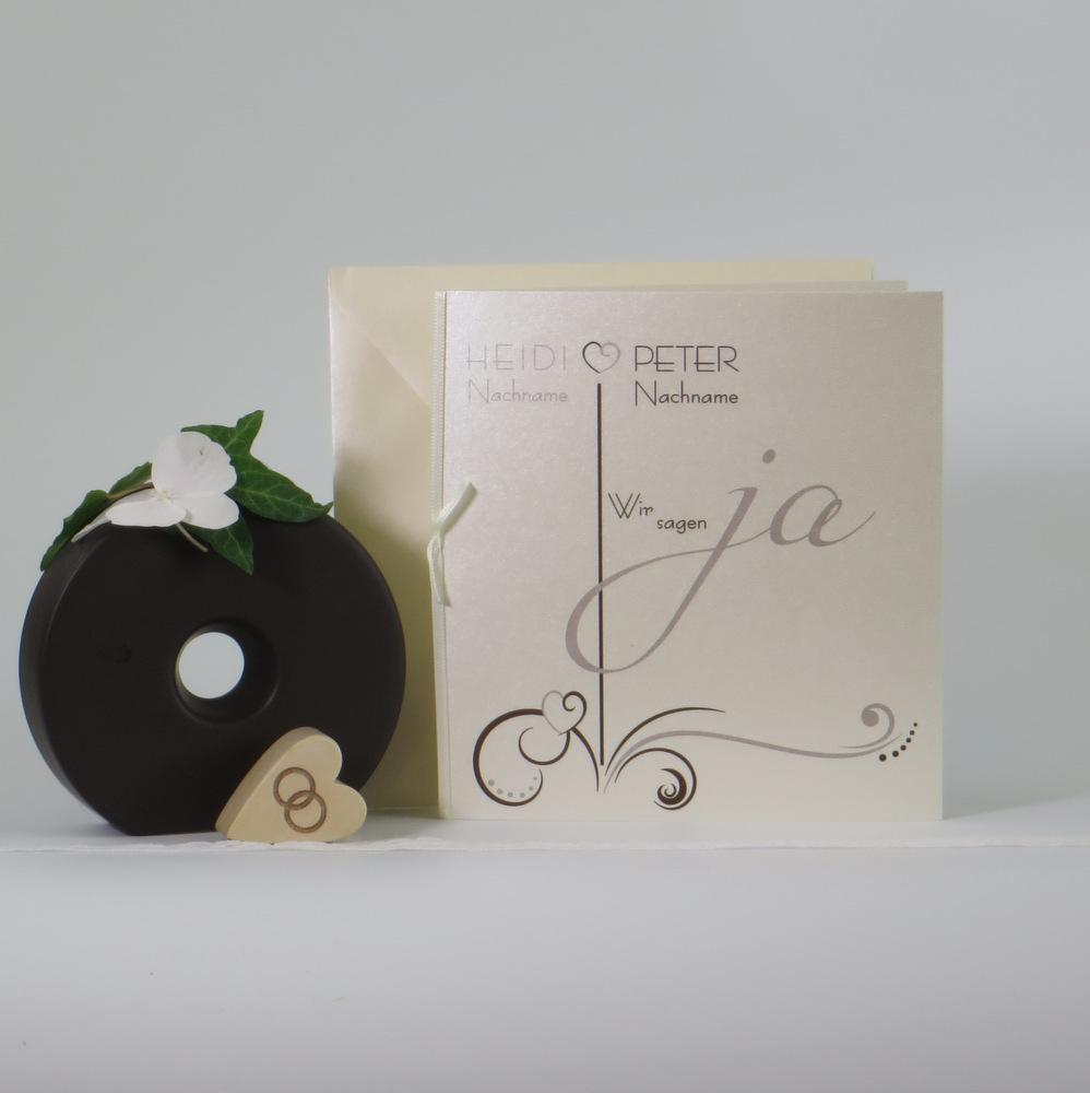 """Hochzeitseinladung """"Design in braun & elfenbein"""""""