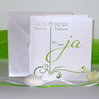 """Hochzeitseinladung """"Design in grün"""""""
