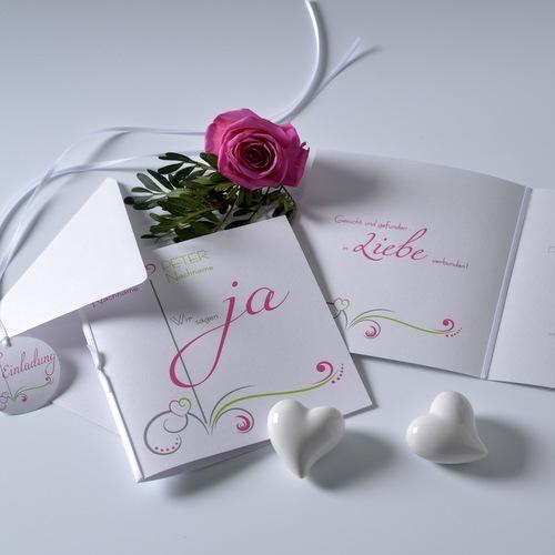 Hochzeitseinladung modern in pink und grün