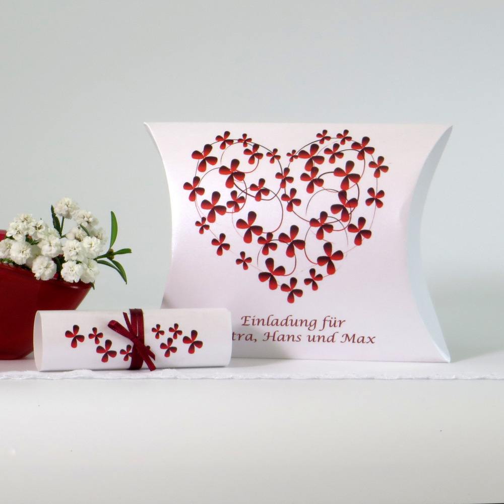 """Hochzeitseinladungsbox """"Blumenherz"""" rot"""