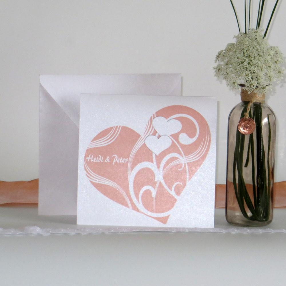 """Hochzeitseinladung """"Elegantes Herz"""" apricot"""