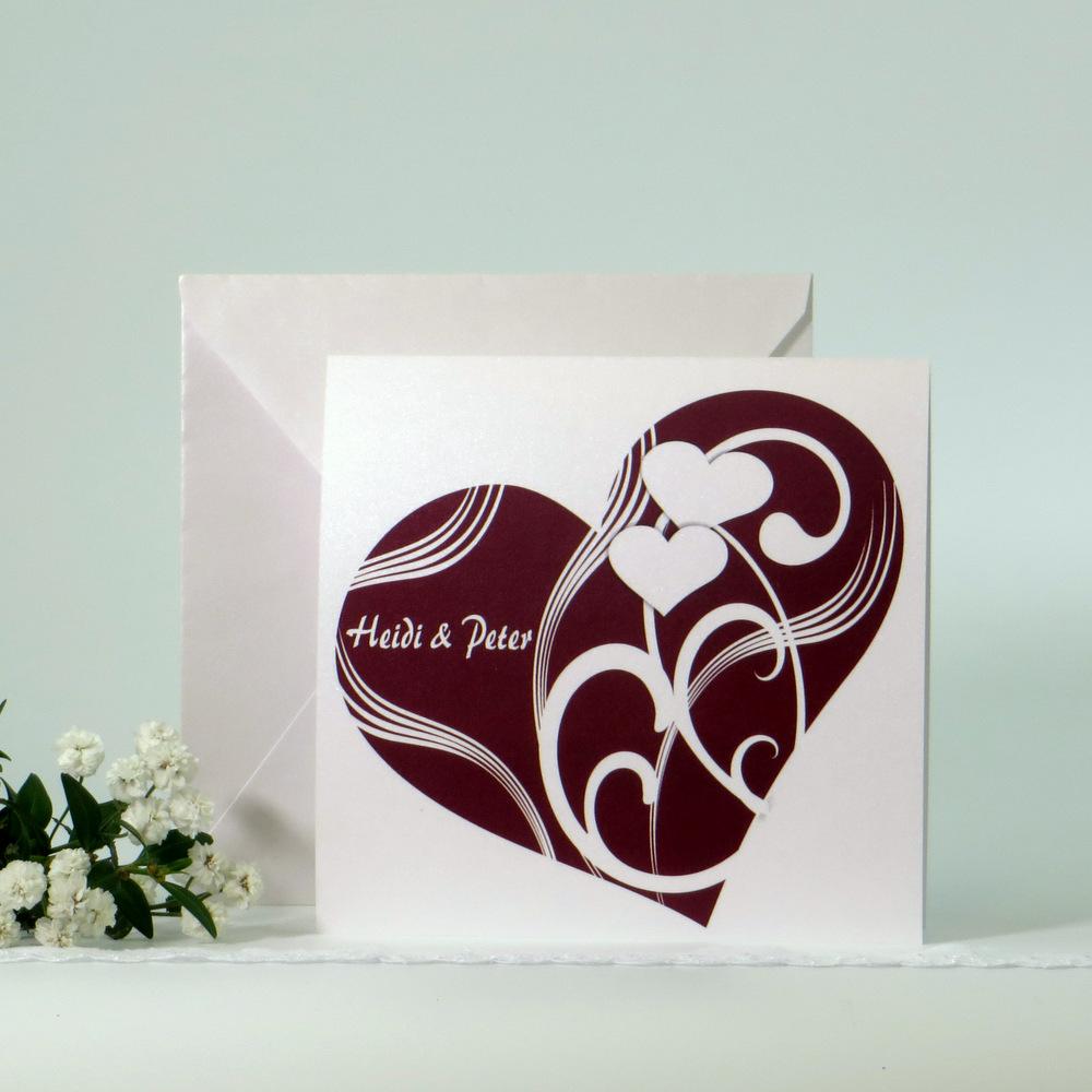 """Hochzeitseinladung """"Elegantes Herz"""" dunkelrot"""