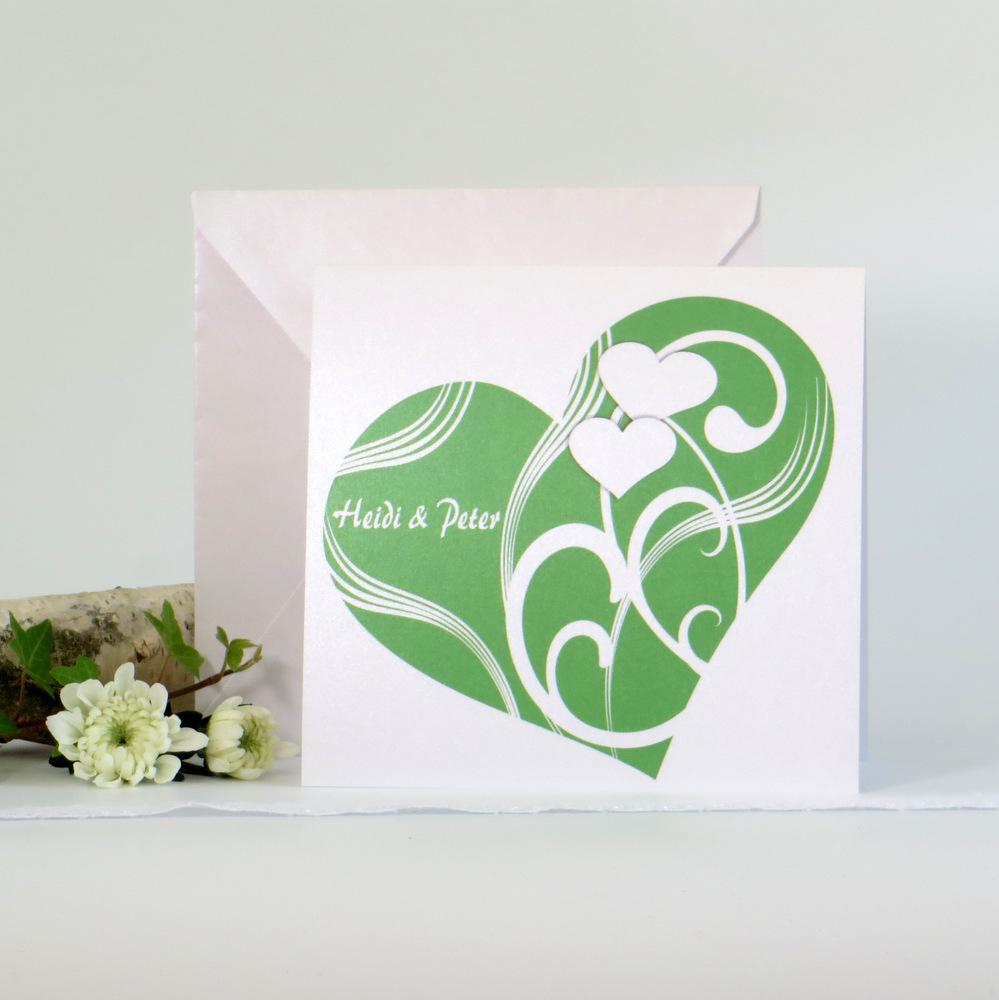 """Hochzeitseinladung """"Elegantes Herz"""" grün"""