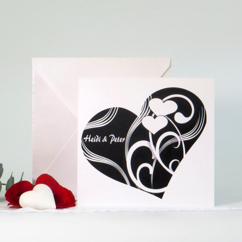 """Hochzeitseinladung """"Elegantes Herz"""" schwarz-weiß"""