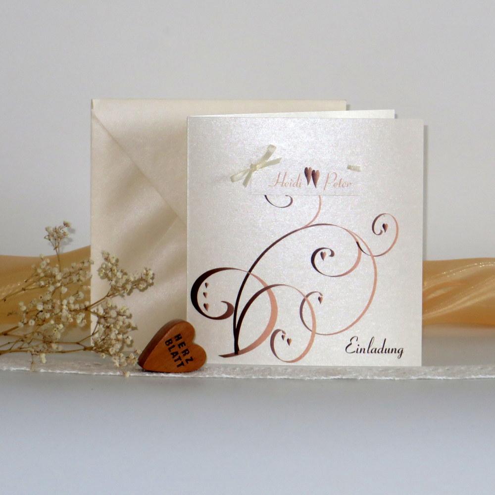 """Hochzeitseinladung """"Farbflirt apricot & braun"""""""
