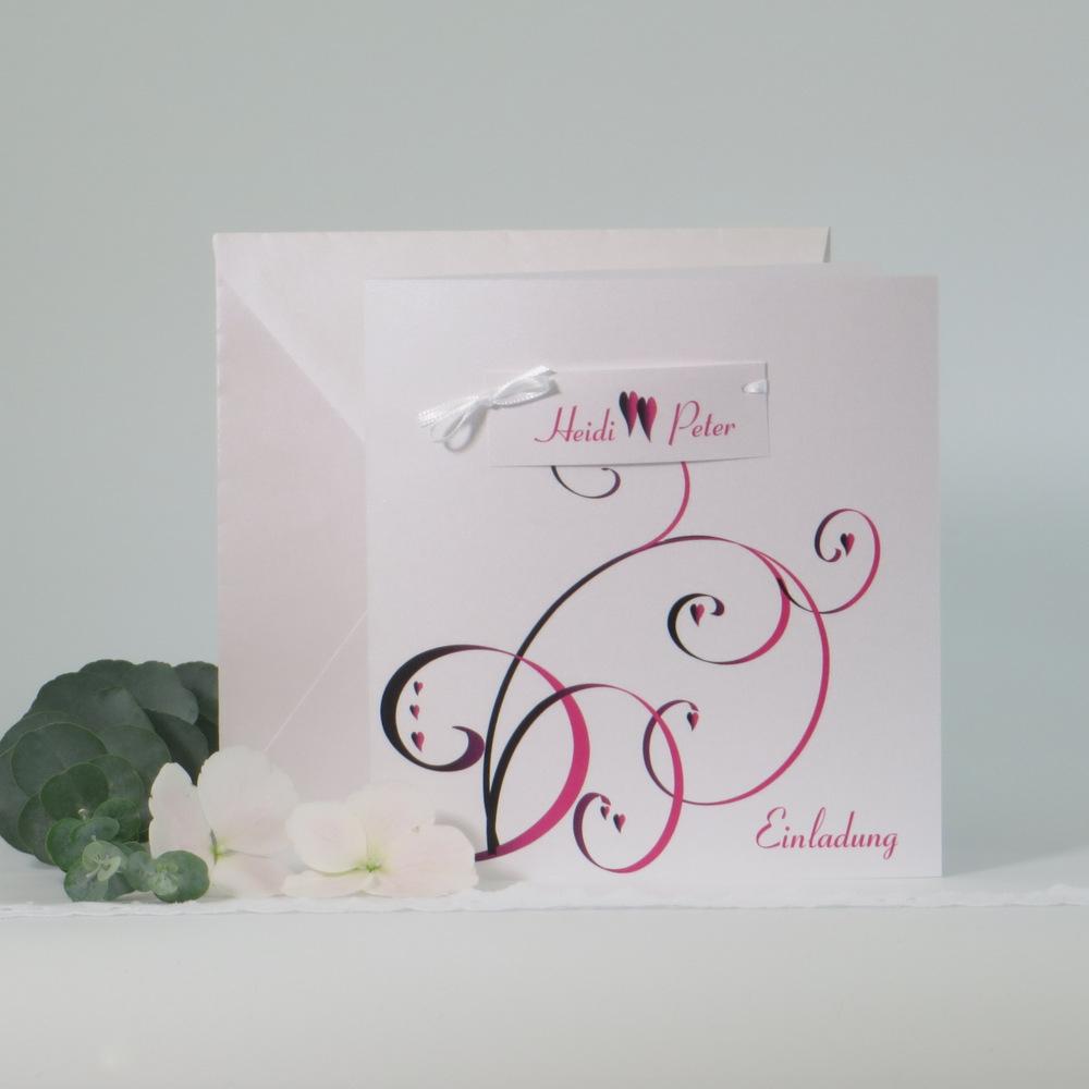 Trendige Einladungskarte für Ihre Hochzeit: Farbflirt pink und schwarz
