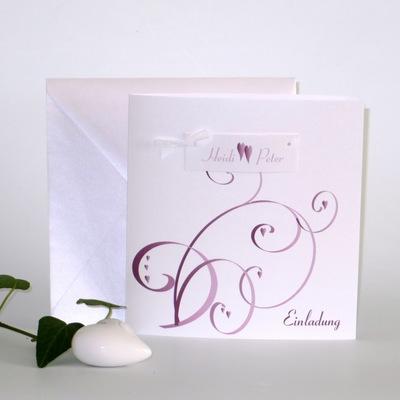 """Hochzeitseinladung """"Farbflirt rose & weiß"""""""