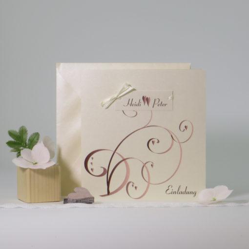 Trendige Hochzeitseinladung Farbflirt in braun und rose