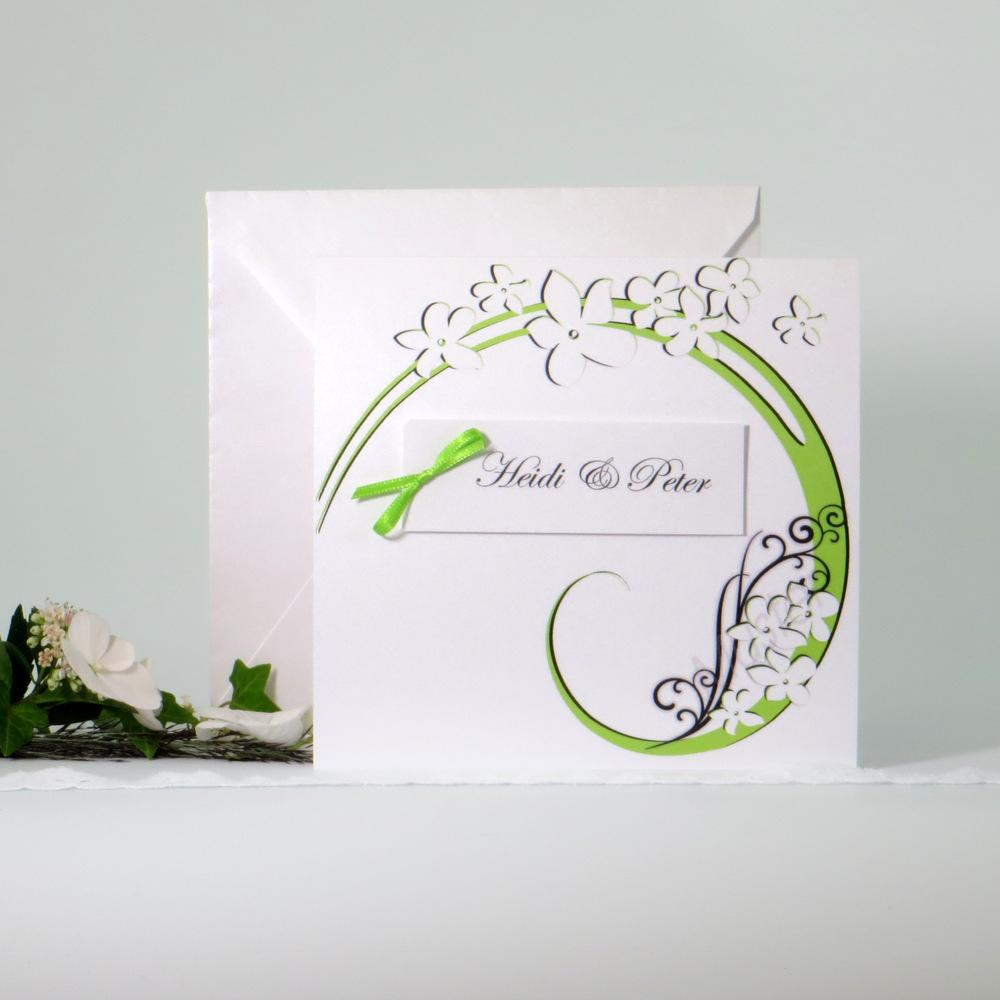 """Einladungskarte """"Flair"""" grün-grau"""