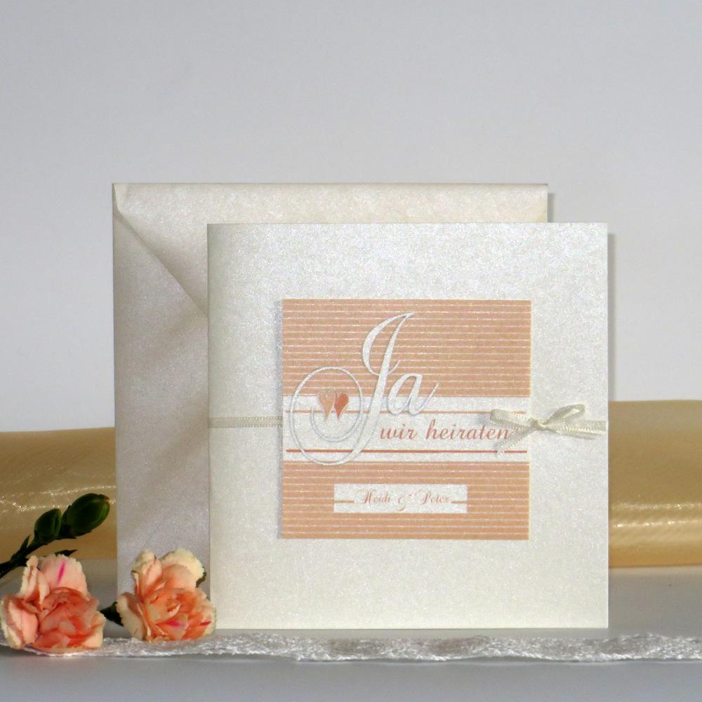 Bezaubernde Einladungskarte für ihr Hochzeitsglück in apricot & orange