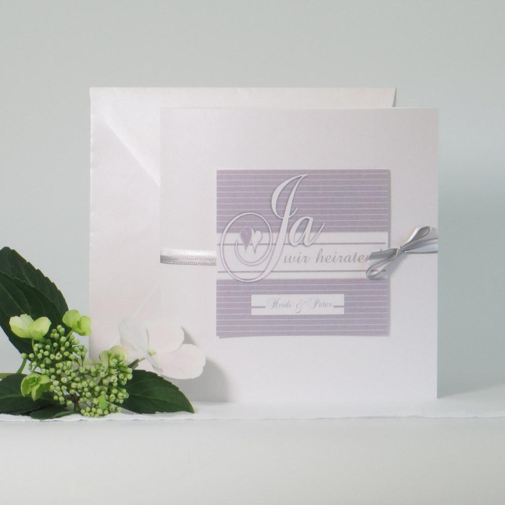 Edle Hochzeitseinladung in grau und weiß für ihr Glück!