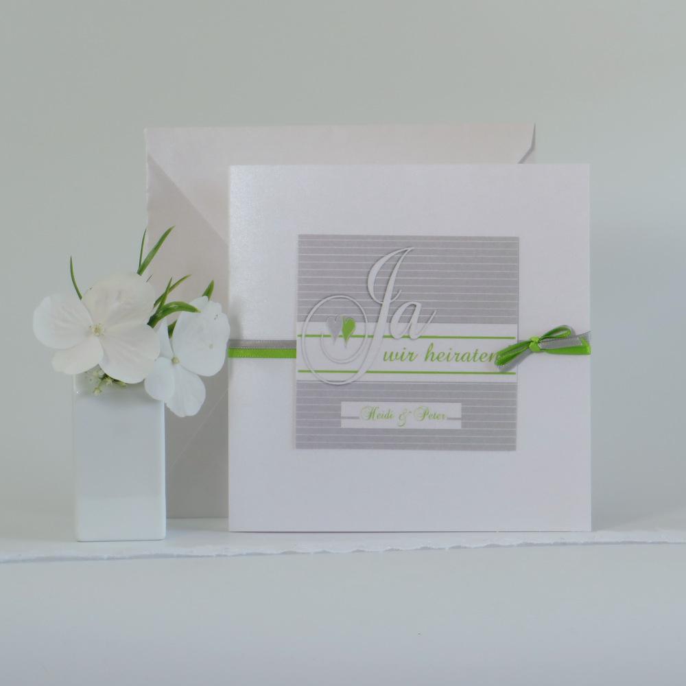 """Hochzeitseinladung """"Glück"""" grau & grün"""