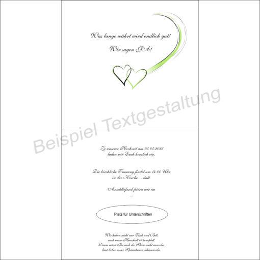 Hochzeitseinladung Harmonie in grün Innentextgestaltung