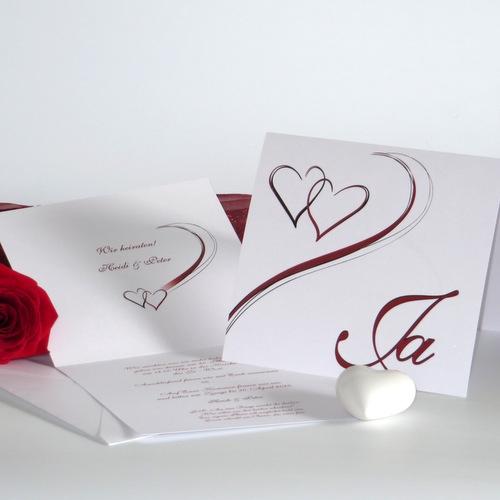 Hochzeitseinladung Harmonie in rot