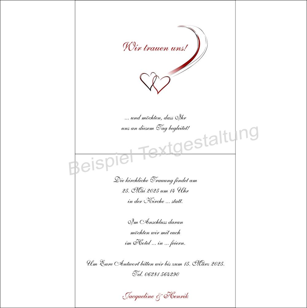 Hochzeitseinladung Harmonie in rot Innentextgestaltung