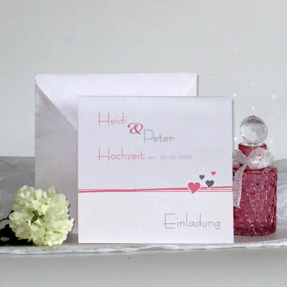 Hochzeitseinladung Herzchen rosa
