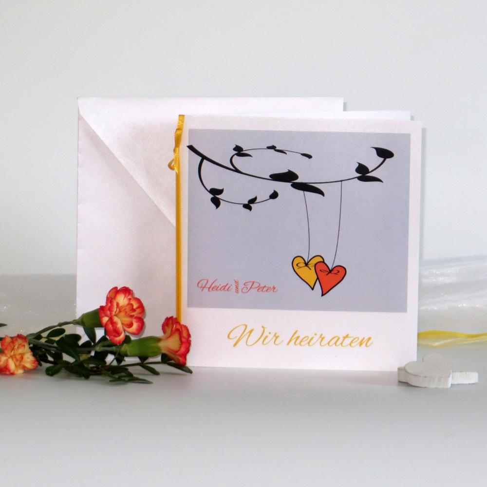 """Hochzeitseinladung """"Herzen am Ast"""" gelb und orange"""