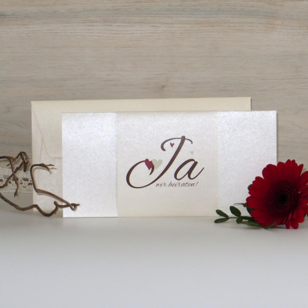 """Hochzeitseinladung """"Herzle"""" braun-rot-creme"""