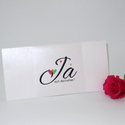 """Stilvolle Hochzeitseinladungskarte """"Herzle"""" pink & grün"""