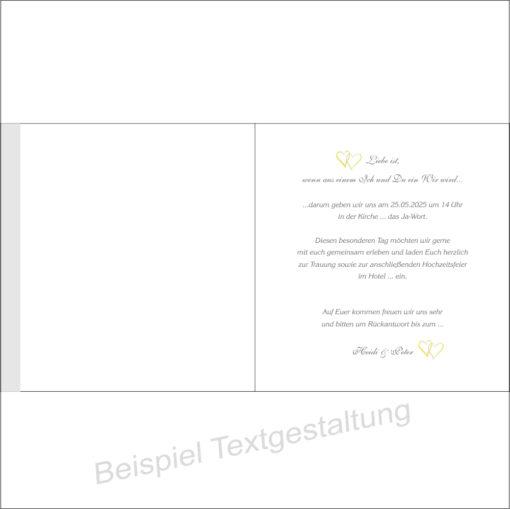 """Hochzeitseinladung """"Herzpaar"""" gelb Innentextgestaltung"""