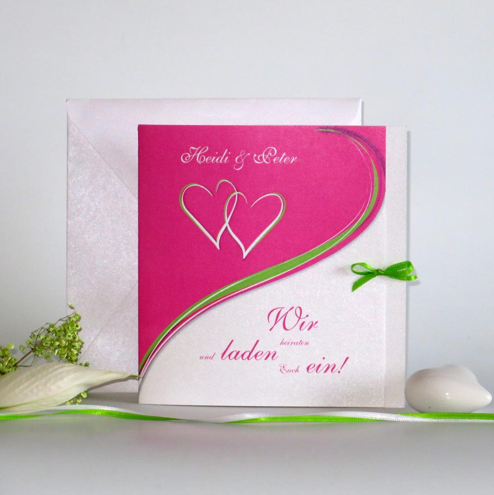 """Hochzeitseinladung """"Herzpaar"""" pink&grün"""